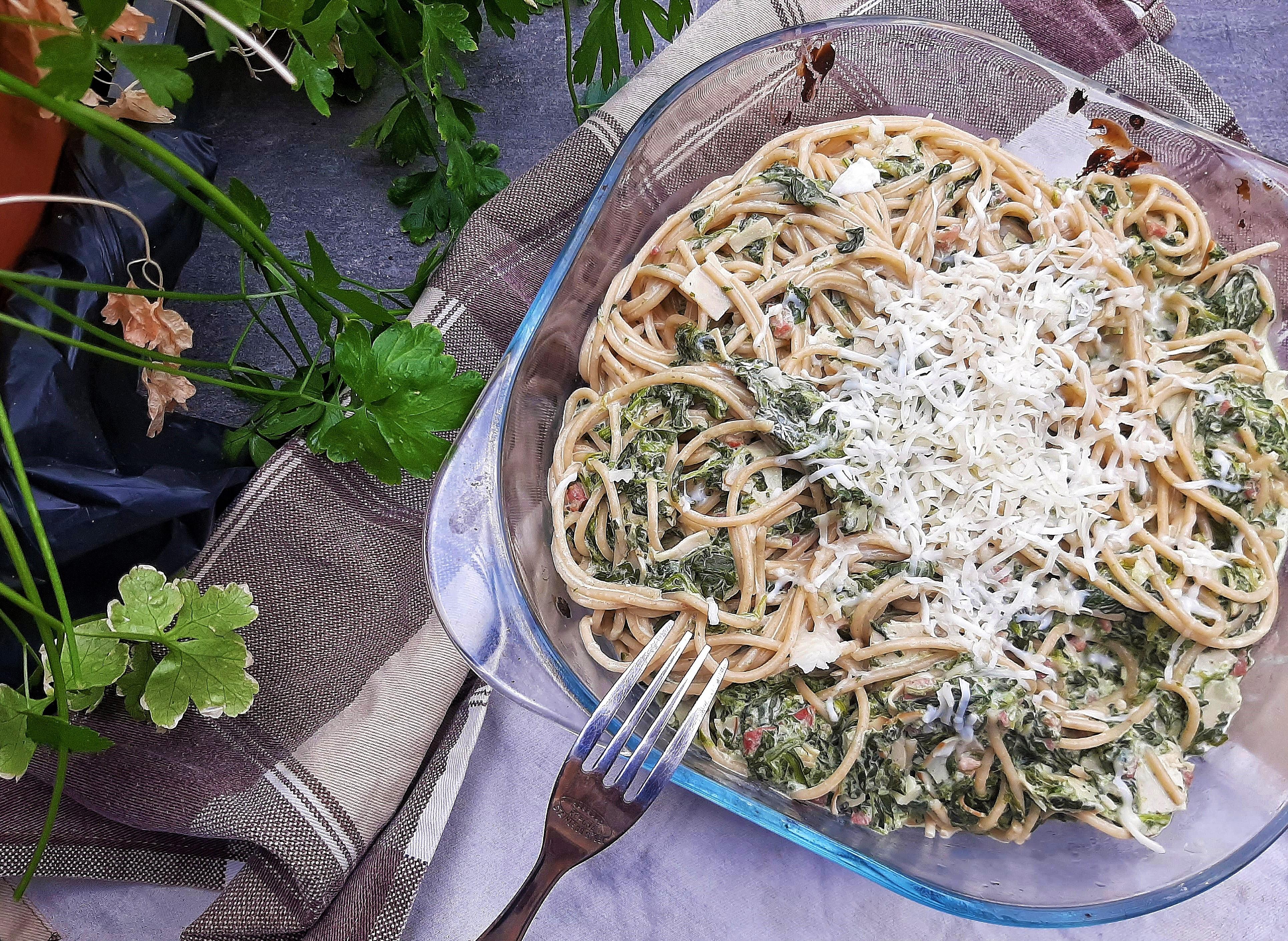 Fantasztikus spenótos tészta teljes kiőrlésű spagettivel – az eredeti recept alapján