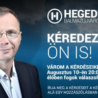 AUGUSZTUS 10 - FACEBOOK ÉLŐ - 20 órától