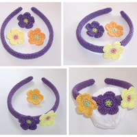 Horgolt lila hajpánt variálható virágokkal