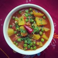 Aloo Matar szabdzsi - azaz az indiai zöldborsós krumplifőzelék