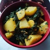Száraz spenót-krumpli főzelék, azaz szabdzsi
