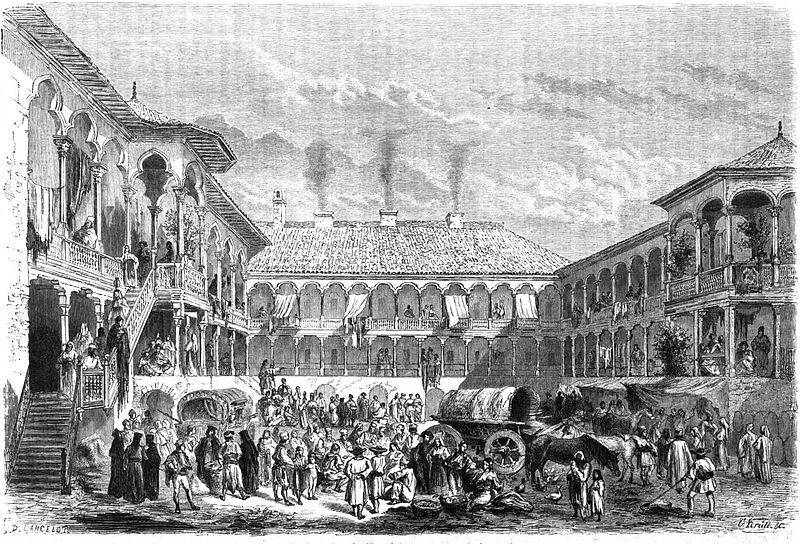 A fogadó, ahogyan 1860-ban rajzolta meg D.A. Lancelot (Fotó: Wikimedia Commons)