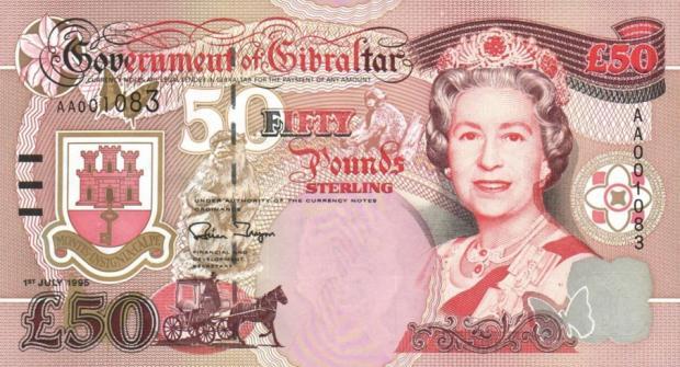 66 évesen a gibraltári 50 fontos bankjegyen (Kép: leftovercurrency.com)