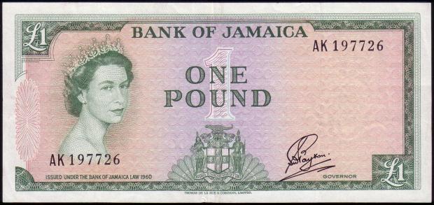 26 évesen a jamaicai 1 fontos bankjegyen (Kép: numismondo.net)