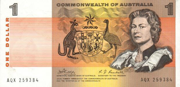 38 évesen az ausztrál 1 dolláros bankjegyen (Kép: leftovercurrency.com)