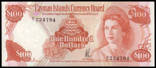 34 évesen a kajmán-szigeteki 100 dolláros bankjegyen (Kép: downies.com)