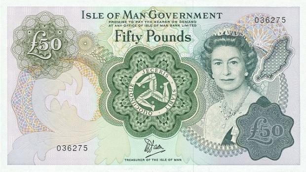 51 évesen a Man-sziget 50 fontos bankjegyén (Kép: leftovercurrency.com)