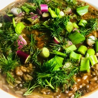 Perzsa leves rizzsel és fekete lencsével (Aash)