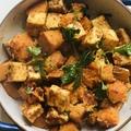 Ízes, pirított sütőtök és tofu kockák (vegán)