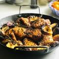 Lapított sült csirke színes céklával