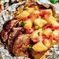 Fóliában sült fokhagymás szűzérme sajtos-baconös krumplival