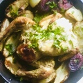 Klasszik  sült csirke csicsókával és lila batátával