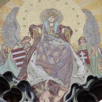 Árpádsávos címer és magyar királyi címer - Budapest, Szervita tér