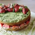 Zöld teás torta mascarpone habbal és eperrel