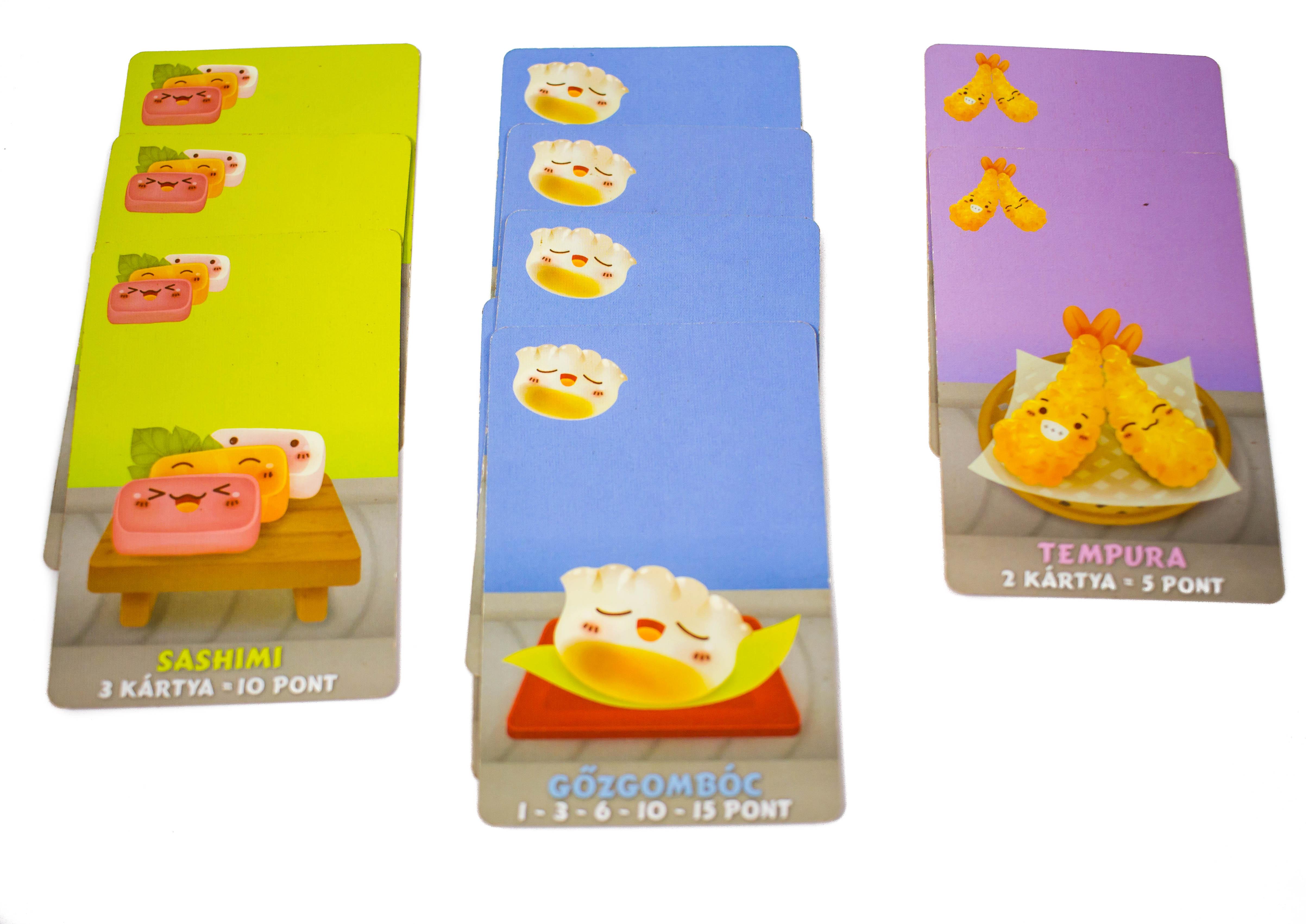 A kártyák alján rövid leírások találhatóak, ezek minden kártya pontozási elvét röviden összefoglalják.