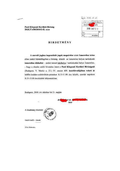 f3eb7d4d0269 Sasfióka küldte el egy magyar bírónő igazán talányos levelét, amit a  Reméljük, Hogy Ez Nem Valódi című sorozatunkban teszünk közzé.