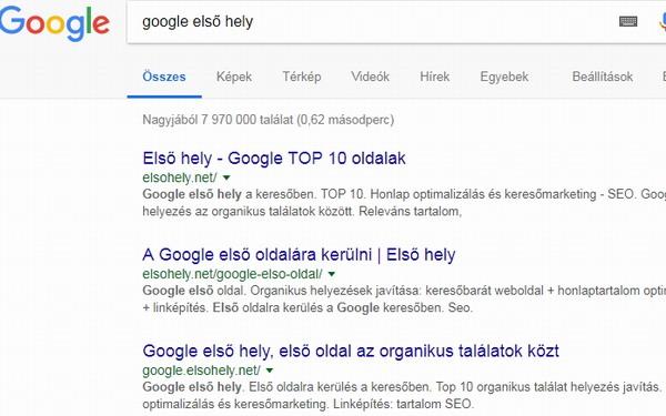 google első helyezés
