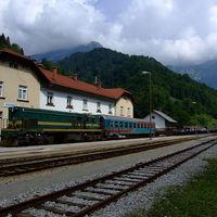 Alagútpótló vonattal a Júliai-Alpokban