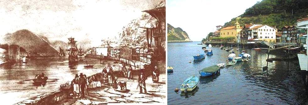 Pasajes városa a XVIII. században, és napjainkban.