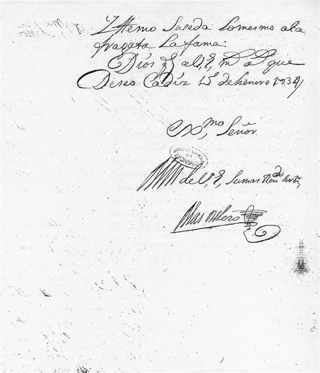 Blas de Lezo aláírása.