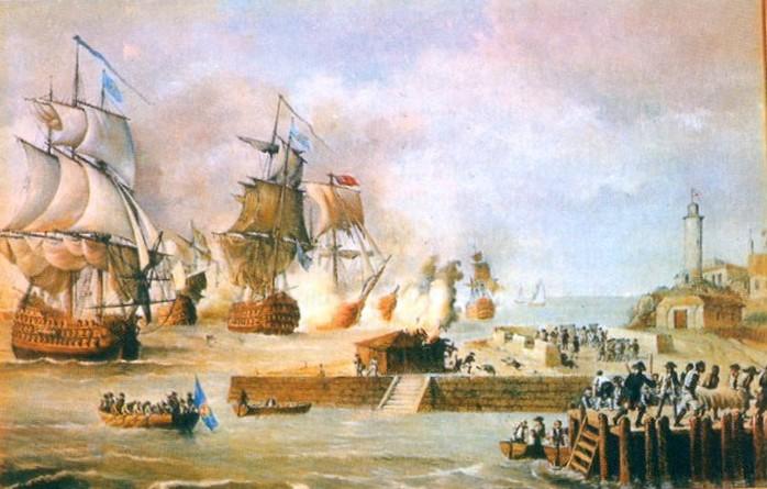 Angol hadihajók Cartagenát ágyúzzák.