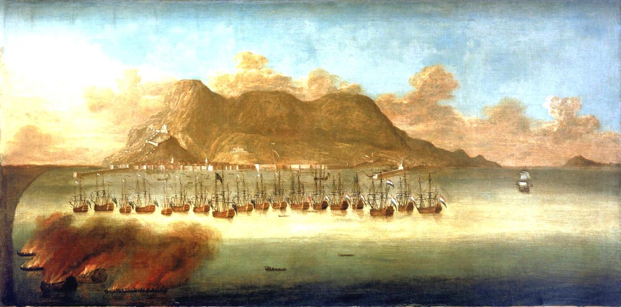 Gibraltár 1704-es elfoglalása, egy korabeli festményen.