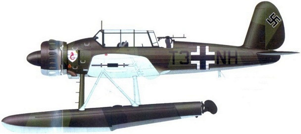 Az Arado Ar-196A oldalnézeti rajza.