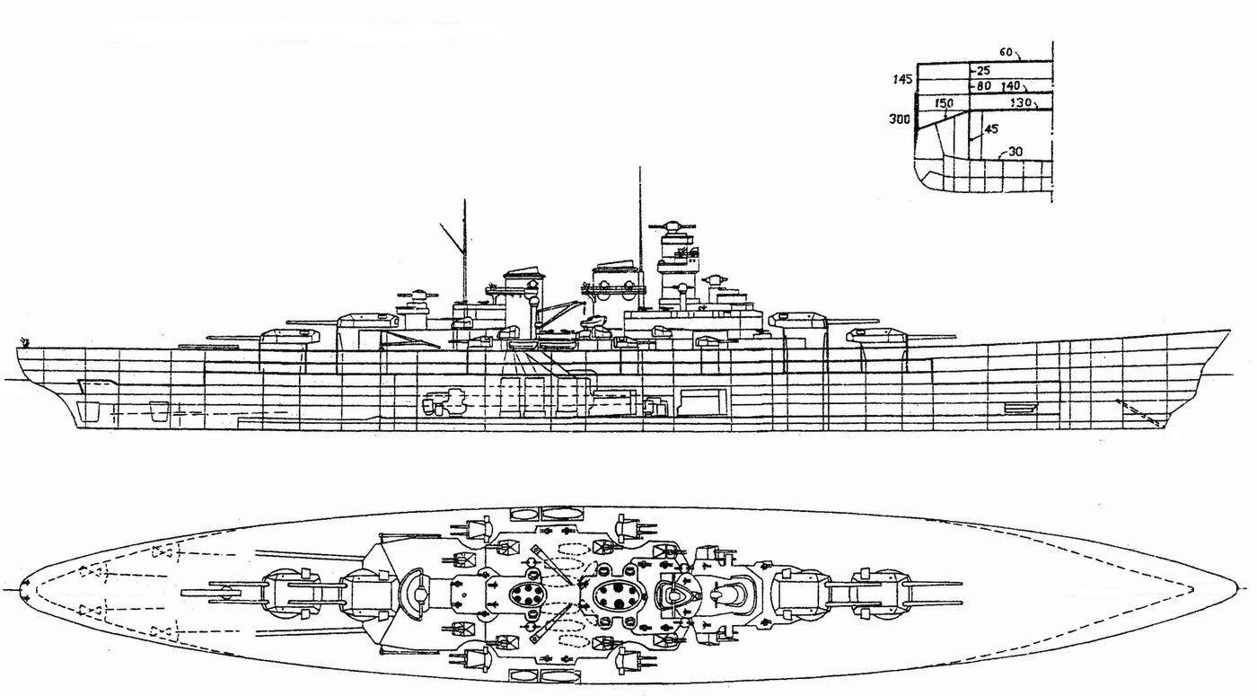 A H-42 metszetrajzai, és felülnézete.