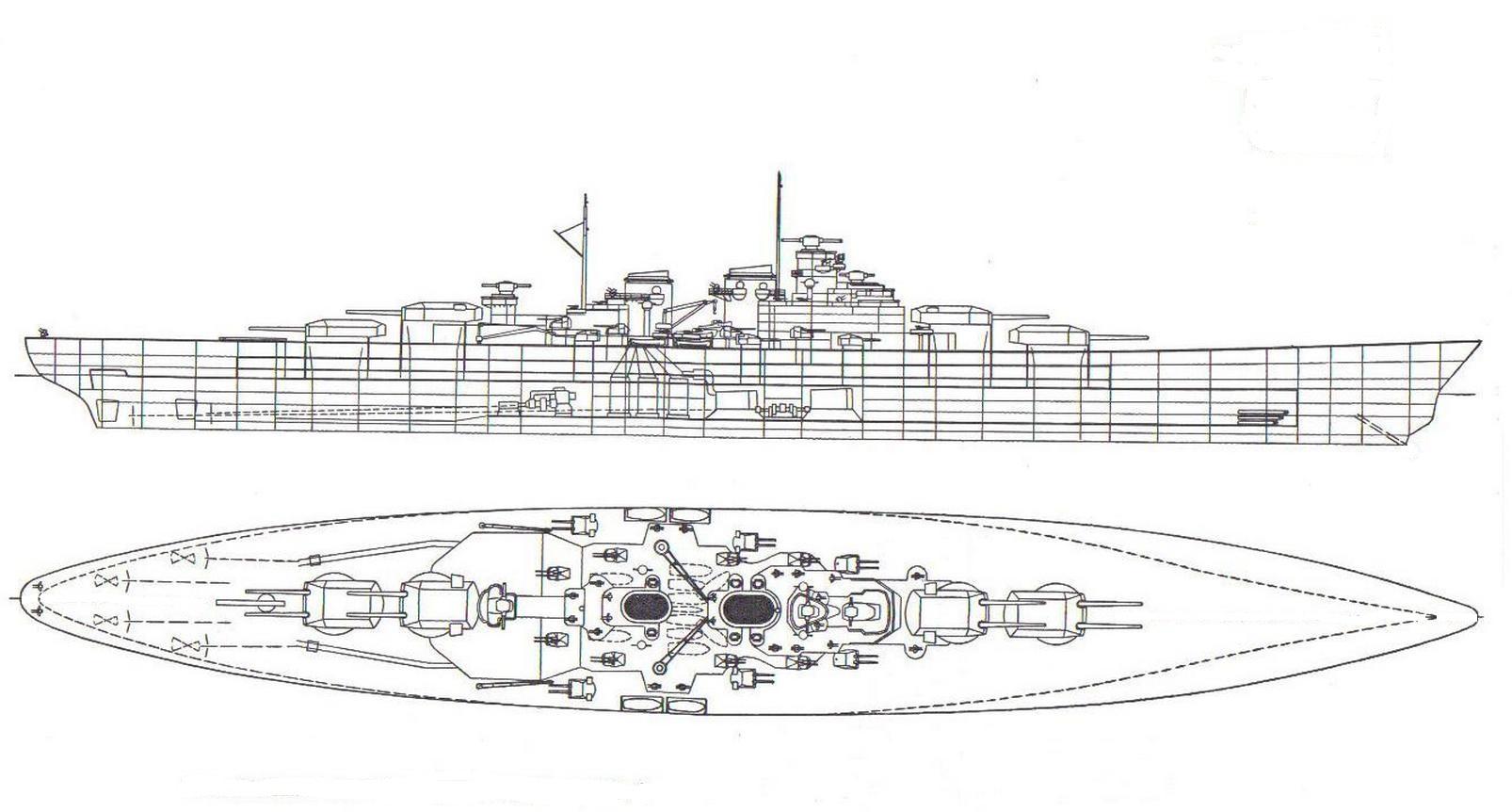 A H-44 hosszmetszete és felülnézete.