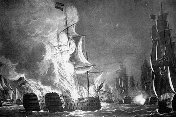 A spanyol hajók pusztulása egy korabeli metszeten.