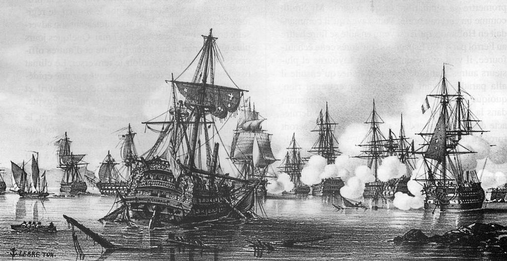 Az első algecirasi csata. Az előtérben a zátonyra futott Hannibal.