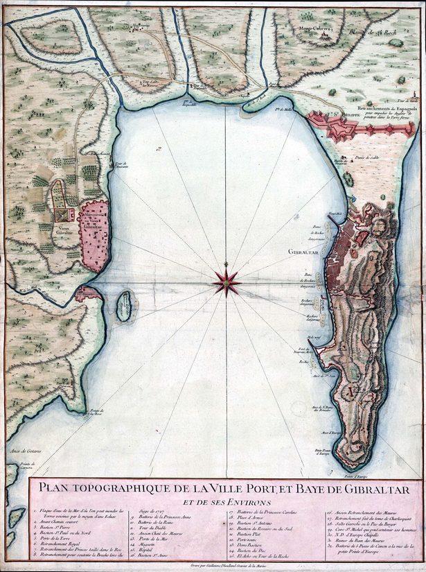Gibraltár és Algeciras egy korabeli térképen.