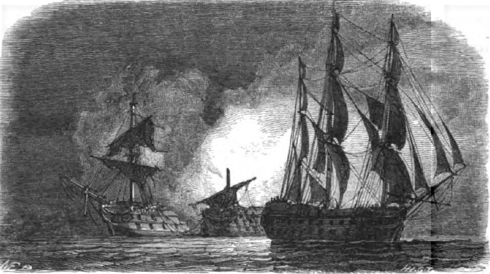 Az egymással harcoló két spanyol hajó, és a távozó Superb.