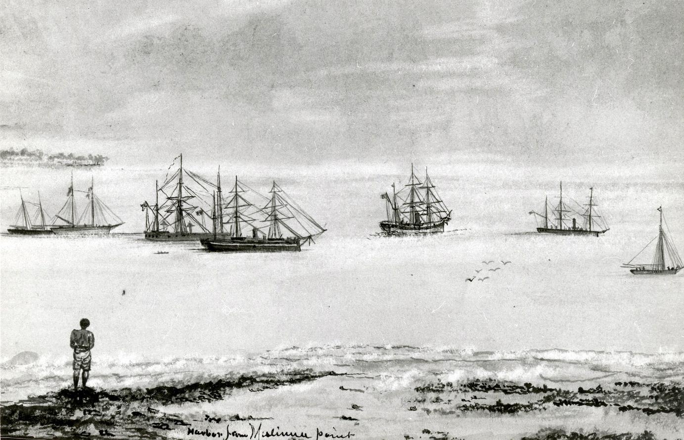 Az Apia kikötőjében horgonyzó hajók, a vihar előtt. Kimberly tengernagy rajza.