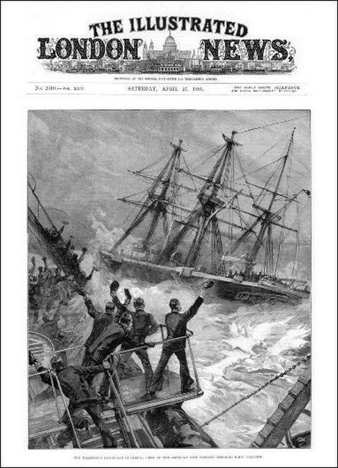 A Calliope kifut a kikötőből. A rajz egyebek között azért sem pontos, mert a Calliope valójában a Trenton bal oldala mellett haladt el.