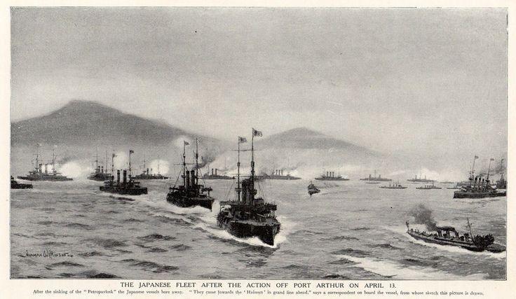 A japán flotta Port Arthurt ágyúzza. Korabeli rajz.