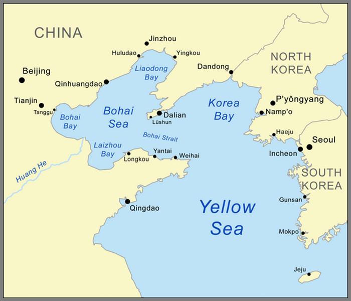 A háborús térség. A térképen már a mai nevek szerepelnek, Port Arthur – Lüshun, Dalnyij – Dalian, Csemulpó – Incheon.