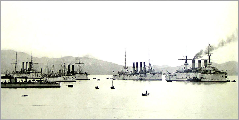 A Csendes-óceáni Hajóraj hadihajói Port Arthurban, a háború előtt.