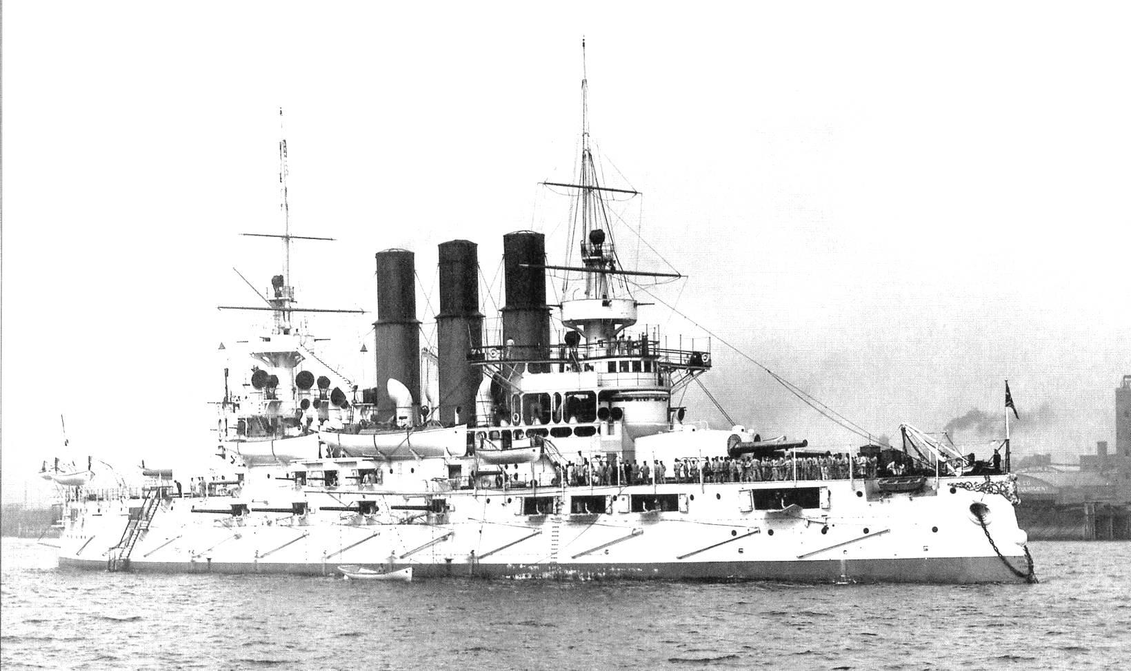 Az amerikai építésű Retvizan, az oroszok egyik legjobb csatahajója.