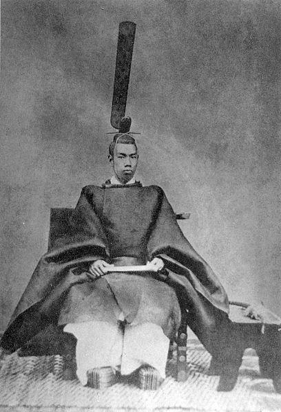 A fiatal Mucuhito, uralkodói nevén Meidzsi (Meiji), a koronázás után.