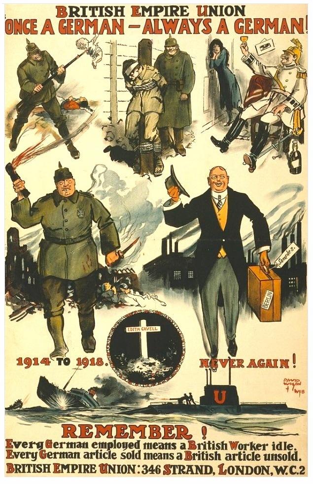 A német mindig német marad. Éberségre intő angol plakát a húszas évekből. Alul a lényegre rávilágító sorok: Minden német alkalmazott egy brit munkanélkülit jelent. Minden eladott német árucikk egy eladatlan brit árucikket jelent.