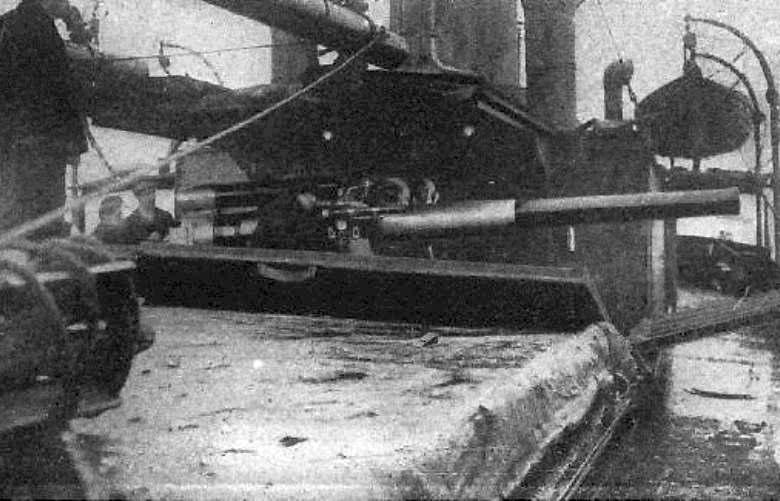 Álcázott fedélzeti löveg egy Q hajón.