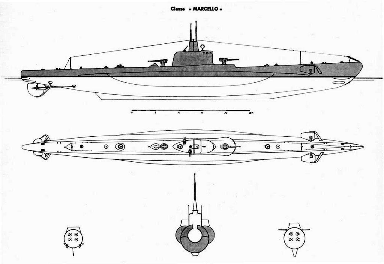 Marcello osztályú tengeralattjáró jellegrajza.