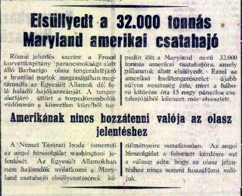 A győzelmi jelentés az egyik korabeli magyar hírlapban.