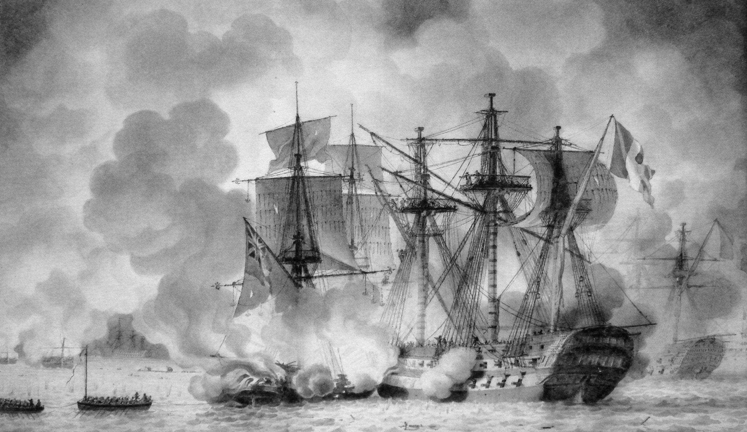 Angol gyújtóhajó ütközik a francia Regulus sorhajóval.