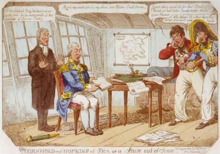 Cochrane támadásra igyekszik rávenni az ásítozó, és a Bibliát olvasgató Gambiert. Korabeli karikatúra.