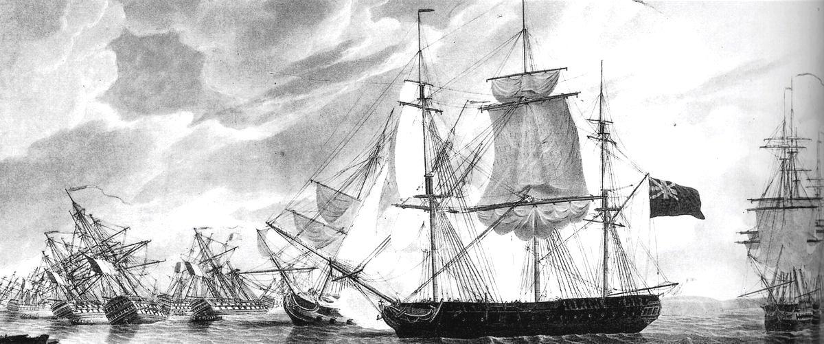 Az Imperieuse a zátonyra futott francia sorhajókat ágyúzza.