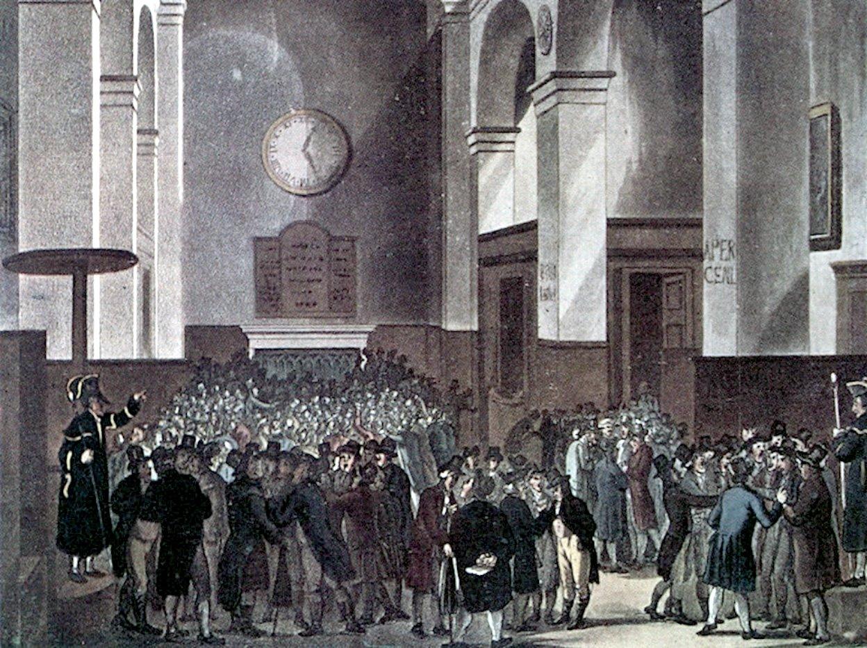A londoni Értéktőzsde 1810 körül.