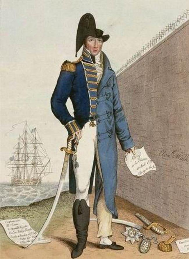 Korabeli karikatúra a tengerészhősből köztörvényes bűnözővé váló Cochrane-ről.