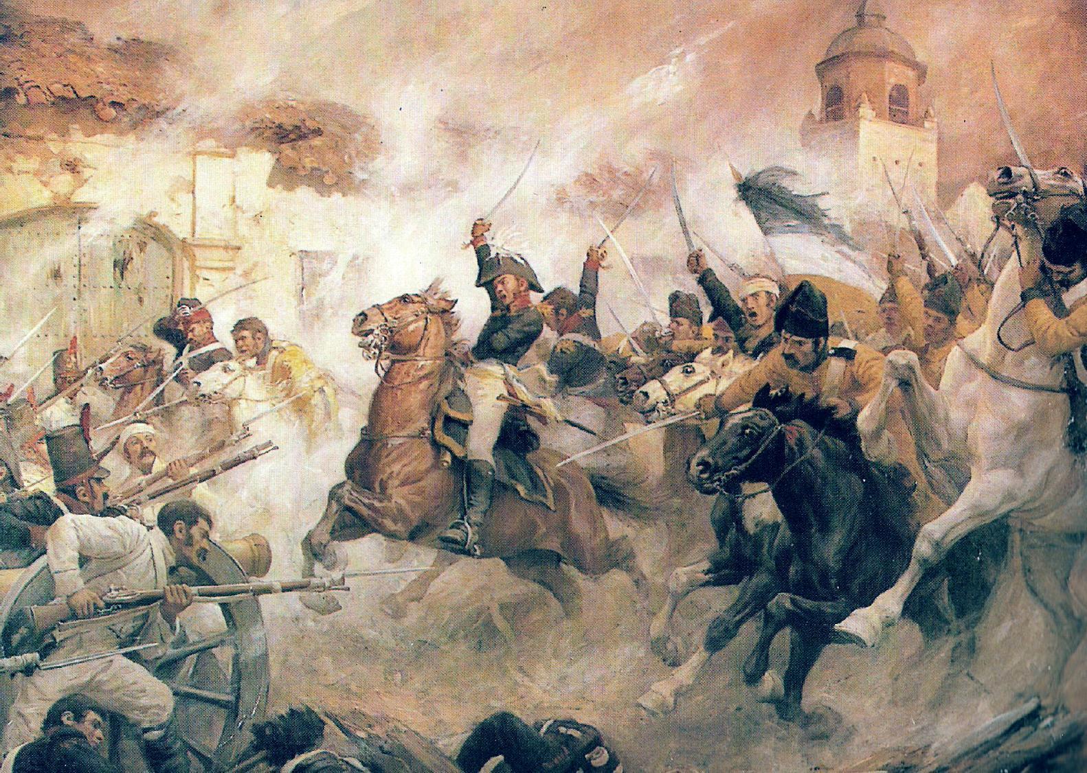 Bernardo O'Higgins a chilei lovasság rohamát vezeti a rancaguai csatában.